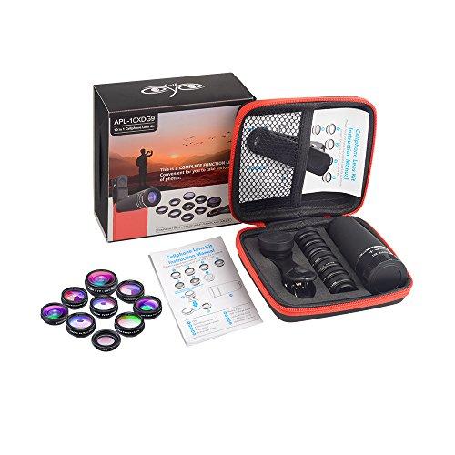 Lente para Celular Kit Apexel 10x Zoom +9 Efeitos de Camera Foto Video Olho de Peixe Macro CPL