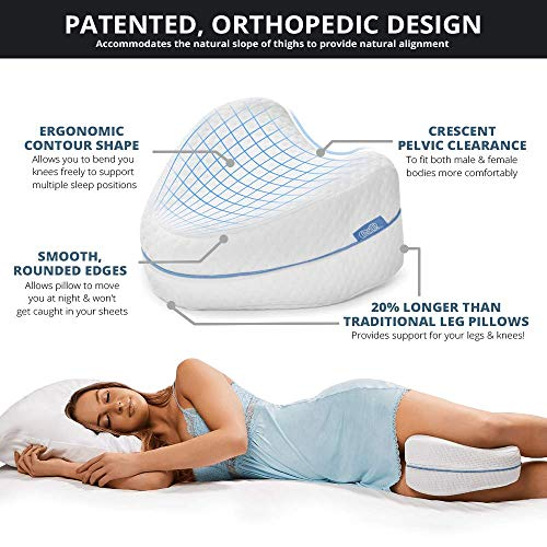 Contour Legacy Legacy Leg & Knee Foam Support Pillow - Soothing Pain Relief for Sciatica, Back, Hips, Knees, Joints & Pregnancy - As Seen on TV (Leg Pillow Only, Ventilated Memory Foam)