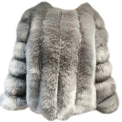 Damen Jacke Faux Pelz Warm Kunstfur Langarm Jacket Kurz Mantel Felljacke Tops Grau M