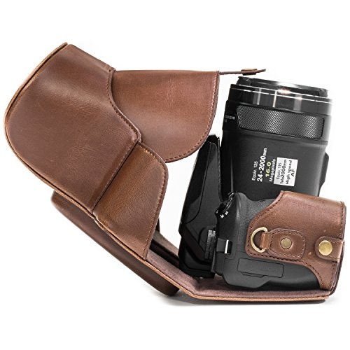 MegaGear Ever Ready Protective Leather Camera Case, Bag for Nikon COOLPIX P900, Nikon COOLPIX P900S Compact System Camera (Dark Brown)