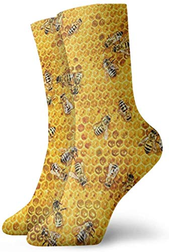 hgfyef Honigbienen auf einem Honig Kämme Männer Frauen Neuheit Lustige verrückte Crew Socke Gedruckte Sport Athletic Socken 30cm lange personalisierte Geschenksocken