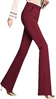 Womens Solid Trousers Boot Cut Slim Fit High Waist Pants