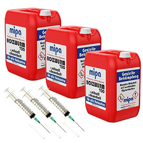 MIPA Holzwurmtod/Holzwurmex 30l plus dreimal Injektionsspritze