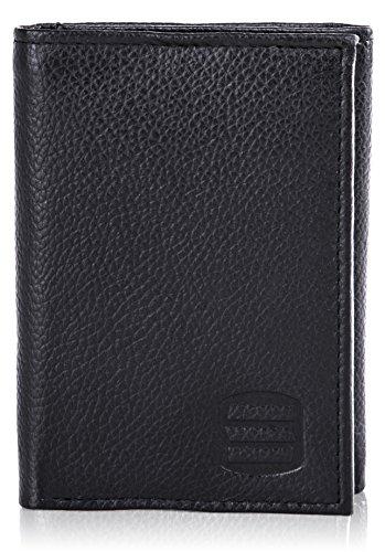 Suvelle Trifold Mens Genuine Leather RFID Blocking Slimfold Travel Wallet WR91