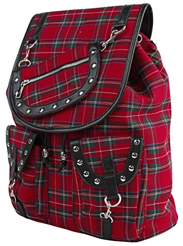 Banned Alternative Red Tartan Backpack Mujer Mochila Negro/Rojo