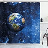 Ambesonne Space Shower Curtain, Outer View of Planet Earth in Solar System with Stars Life on Globe Themed Image, Cloth Fabric Bathroom Decor Set with Hooks, 84' Long Extra, Blue Green