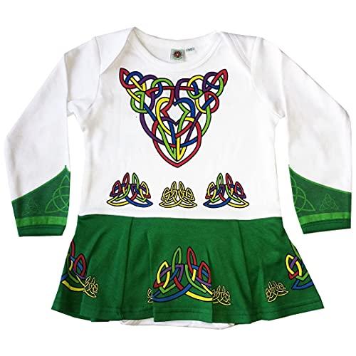 Green Babies Vest Designed As Irish Dancing Dress With Celtic Design, 6-12 Months