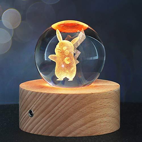 Weihnachts Geschenke für Kinder, 3D Kristallkugel Nachtlicht mit 7 Farben und 16 Farbwechseln, Feiertag Geburtstag Geschenk für Familien/Freunde/Jungen/Mädchen (Pikachu)