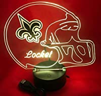 NFL Light Up LED Lamp Personalized Handmade Football Helmet Night Light with Free Personalization and Remote, 16 Color Options, and Variations! (New Orleans Saints)