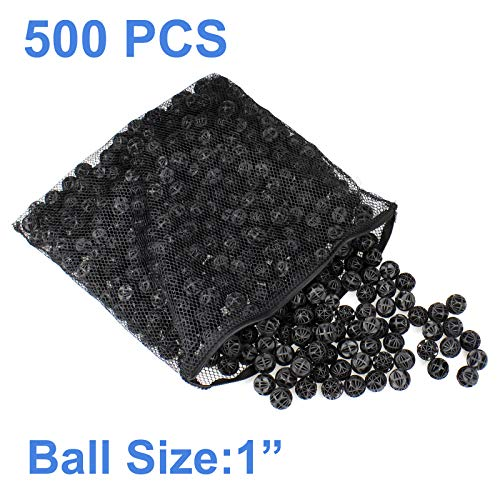"AQUANEAT 500pcs 1"" Bio Balls 2 Gal Aquarium Filter Media Pond Canister Filter Media"