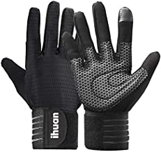 Updated 2021 Ventilated Weight Lifting Gym Workout Gloves Full Finger with Wrist Wrap Support for Men & Women, Full Palm Protection, for Weightlifting, Training, Fitness, Hanging, Pull ups