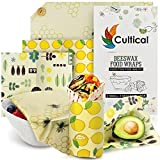 Cultical Reusable Beeswax Wrap Kit 6 Pack Biodegradable Eco Washable Odorless Sustainable Beeswax Covers for Food Wrap Organic Wax Wrap Beeswax Wrappers