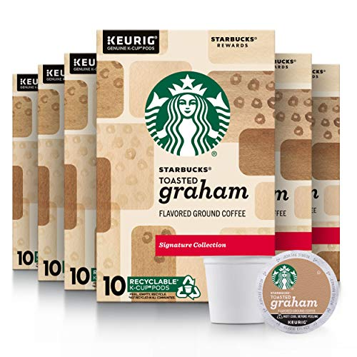 Starbucks Flavored K-Cup Coffee Pods, Toasted Graham for Keurig Brewers, 10 Count (Pack of 6)