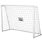 Homcom But de Football - Cage de Foot - But d'entrainement dim. 186L x 62l x 123H cm - châssis métal Filet PE - piquets & Outil Inclus - Blanc