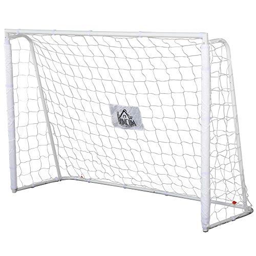 HOMCOM But de Football - Cage de Foot - But dentrainement dim. 186L x 62l x 123H cm - châssis métal Filet PE - piquets & Outil Inclus - Blanc