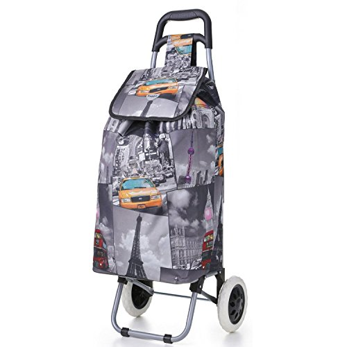 Hoppa 47L Lightweight Shopping Trolley, Hard Wearing & Foldaway for Easy Storage with 3 Years Guarantee (Cities)