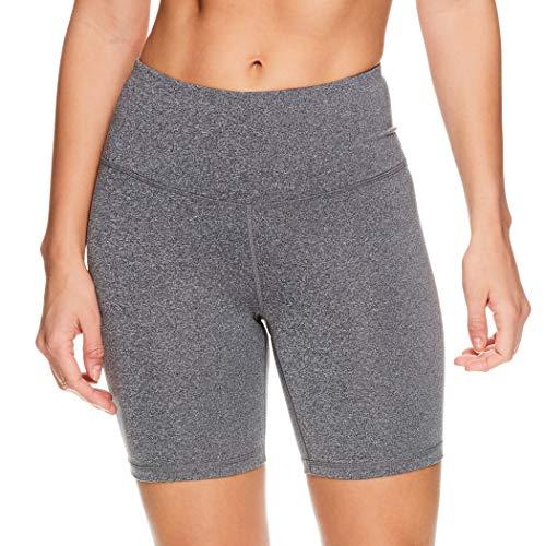 Reebok Women's Compression Running Shorts - High Waisted Performance Gym Yoga & Workout Bike Short - 7 Inch Inseam - High Rise Short Charcoal Heather, Medium