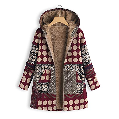 JOFOW Womens Jacket Winter Hooded Long Striped Polka Dot Patchwork Floral Print Fleece Quilted Coat Loose Cardigan Plus Size (XL,Wine red)