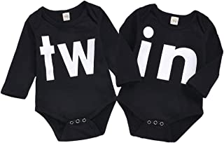 Mini honey 2Pcs Newborn Twins Baby Boys Girls Short Sleeve Cute Romper Bodysuit Summer Outfit Clothes