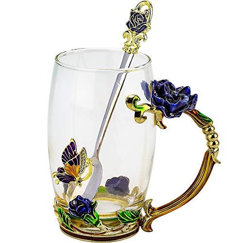 COAWG Glasteetasse, Emaille Blue Rose Blüten Schmetterlingsbecher Kristallglas Klare Tasse Blumen Blumenglas Kaffeebecher mit Handgriff für Frauen, Valentinstagsgeschenk(Blau mit löffel)