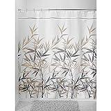 mDesign Duschvorhang Anti-Schimmel - 180 cm x 200 cm - schwarz/brauner Dusch- und Badewannenvorhang - 12 vorgenähte Löcher für einfache Aufhängung