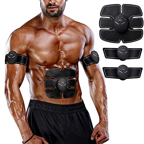 LANCS Muscle Toner Body Trainer Belt Workout Fitness Equipment Women Men Training Home Office Exercise for Abdomen Arm Leg Hip Building (Black)