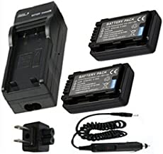 Battery (2-Pack) and Charger for Panasonic VW-VBY100, VW-VBY100E, VW-VBY100E-K Rechargeable Lithium-ion 3.6V 970mAh