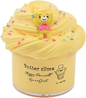 Cartoon Bear Slime (Scented) with Charm, Butter Slime Strechy Non-Sticky and Glossy Slime, Stress Relief Toy for Girls and Boys