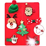 8 Piezas Horquillas Pelo Niña, Pinzas Cabello Para Niñas Navidad Accesorios Pelo Niña Con Diadema De Reno Decoraciones Navidad