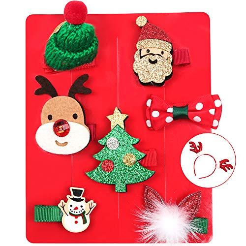 Kerstmis haarspeldenset, 8 stuks leuke baby meisjes kinderen haar clip en Kerstmis hoofdband rendier voor kerstfeest decoratie haarsieraad kostuum accessoires