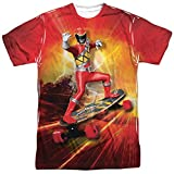 Trevco Men's Power Rangers Double Sided Print Sublimated T-Shirt, White, Large