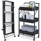Dripex Rollwagen Küchewagen Metall Roll Regal Aufbewahrungswagen faltbar,mobiler für Küche Bad Büro mit Rollen 3 Etagen Schwarz