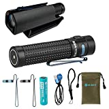 Holster Bundle Olight S2R II Baton 1150 Lumen Rechargeable LED Flashlight Side-switch EDC with one customized 3200mAh 18650 Battery, USB Magnetic Charging Cable (MCC II) and Click-on Kydex Holster