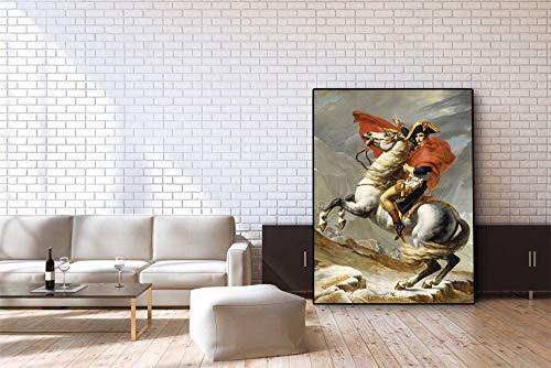Flduod pferdebilder für die Wand/Napoleon Bonaparte Porträt Pferd/Tier Poster und Druckgrafik Home Wanddekoration-60x80cm