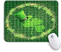 NIESIKKLAマウスパッド 聖パトリックの日シャムロックグリーンハット輝くハロー ゲーミング オフィス最適 高級感 おしゃれ 防水 耐久性が良い 滑り止めゴム底 ゲーミングなど適用 用ノートブックコンピュータマウスマット
