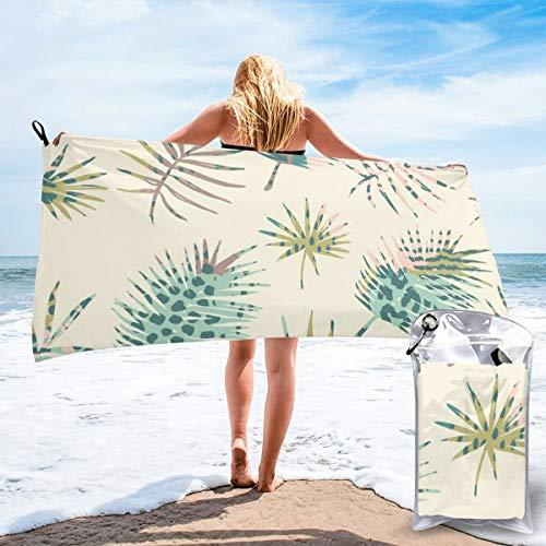 Toallas de viaje de microfibra de secado rápido, ligera, sin arena, con patrón exótico, sin costuras, con palma y estampado de animales, para tomar el sol, hacer mochila, deportes, yoga, natación, 160 x 81 cm