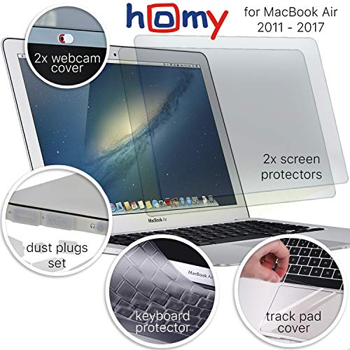 Homy Anti Blue Light Screen Protector Kit [2-Pack] for MacBook Air 13 inch 2017 or Earlier + Keyboard Cover Ultra-Thin TPU + Web Camera Sliding Cover. Eye Protection for A1369 A1466 Models ONLY