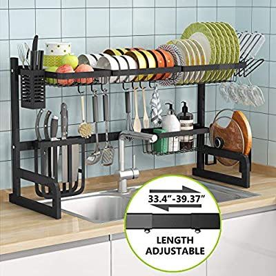 Over the Sink Dish Drying Rack - 1Easylife Adjustable 2-Tier Large Dish Dryer Rack for Kitchen Organizer Storage Space Saver Shelf Utensils Holder with 7 Utility Hooks Tableware Drainer Non-slip Black from 1Easylife
