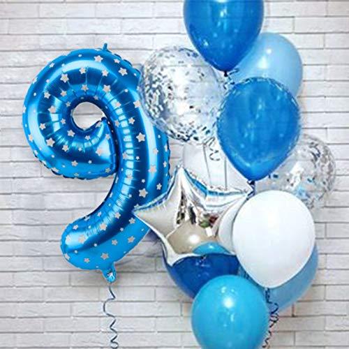 XIAOYAN Globos 12 unids Número Azul Foil Latex Balloons Fiesta de cumpleaños Decoración de la Fiesta Niños Bebé Bebé Príncipe 1 2 3 4 5 6 7 7 8 9 años 1er cumpleaños ( Color : Blue 9th )