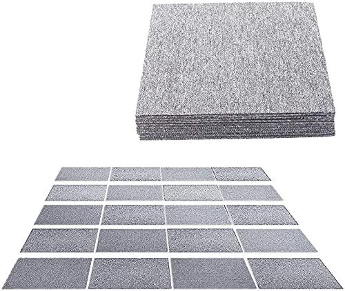 uyoyous Teppichfliesen selbstliegend für Büro & Gewerbe 50x50cm Teppichboden Bodenfliesen mit Klebepatch für Indoor Outdoor Größe:5 m2 (Hellgrau, 20 Stück)
