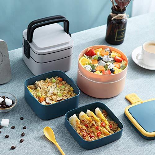 N-B Caja de almuerzo portátil redonda de doble capa de 4 l para estudiantes, caja de almuerzo con aislamiento de plástico para el almuerzo, oficina trabajador puede aislado cubo