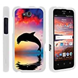 Compatible with ZTE Maven Case | ZTE Fanfare Case | ZTE Atrium Case [Slim Duo] Hard Shell Snap On Case Fitted Protector Matte on White Ocean Beach by TurtleArmor - Dolphin Jump