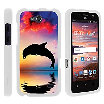 Compatible with ZTE Maven Case   ZTE Fanfare Case   ZTE Atrium Case [Slim Duo] Hard Shell Snap On Case Fitted Protector Matte on White Ocean Beach by TurtleArmor - Dolphin Jump