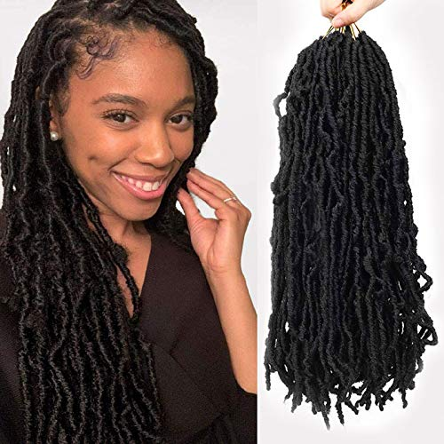 HAPPYCC 18 Inch Nu Faux Locs Crochet Hair, 3 Pack Curly Wavy African Soft Goddess Locs Crochet Braids Hair for Black Women Lady Girls, 21 Stands/Pack