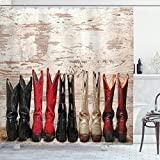 Ambesonne Western Shower Curtain, American Cowgirl Leather Boots Rustic Wild West Theme Cultural Print, Cloth Fabric Bathroom Decor Set with Hooks, 70' Long, Beige Red