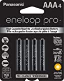 Panasonic BK-4HCCA4BA eneloop pro AAA High Capacity Ni-MH Pre-Charged Rechargeable Batteries, Black , 4 Pack