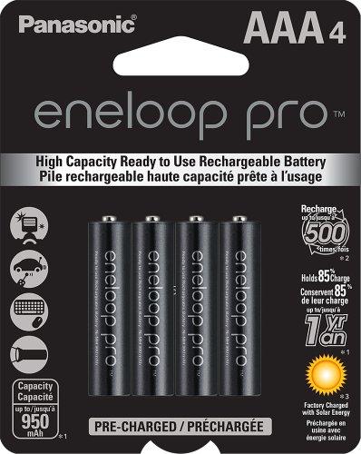 Panasonic BK-4HCCA4BA eneloop Pro AAA baterias recarregáveis pré-carregadas de alta capacidade, preto, pacote com 4