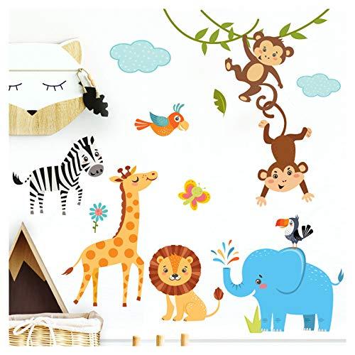 Little Deco kinderfoto's jungle dieren I twee A4-vellen I Muurtattoo Kinderkamer Jongen Deko Babykamer Jongen Muursticker Jongens Sticker Muursticker DL247