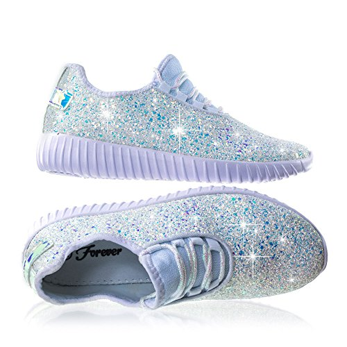 Forever Link Women's REMY-18 Glitter Fashion Sneakers White 7