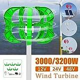Raenhero 3200W / 3000W Wind Turbine 5 Blade Generator 12/24 / 48V Lantern Vertical...